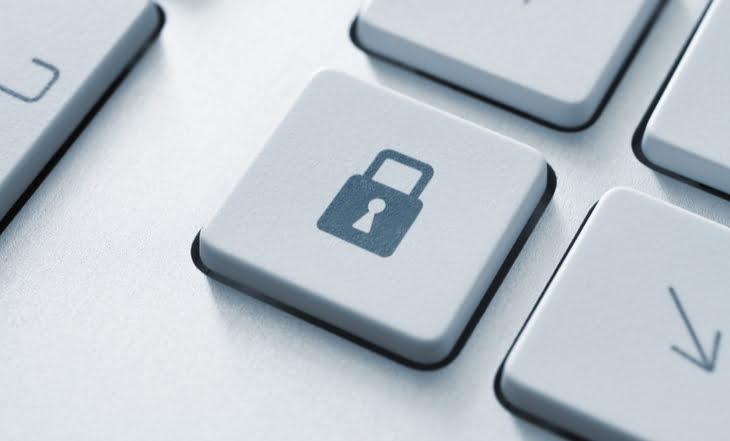 Tecla com cadeado de segurança de dados