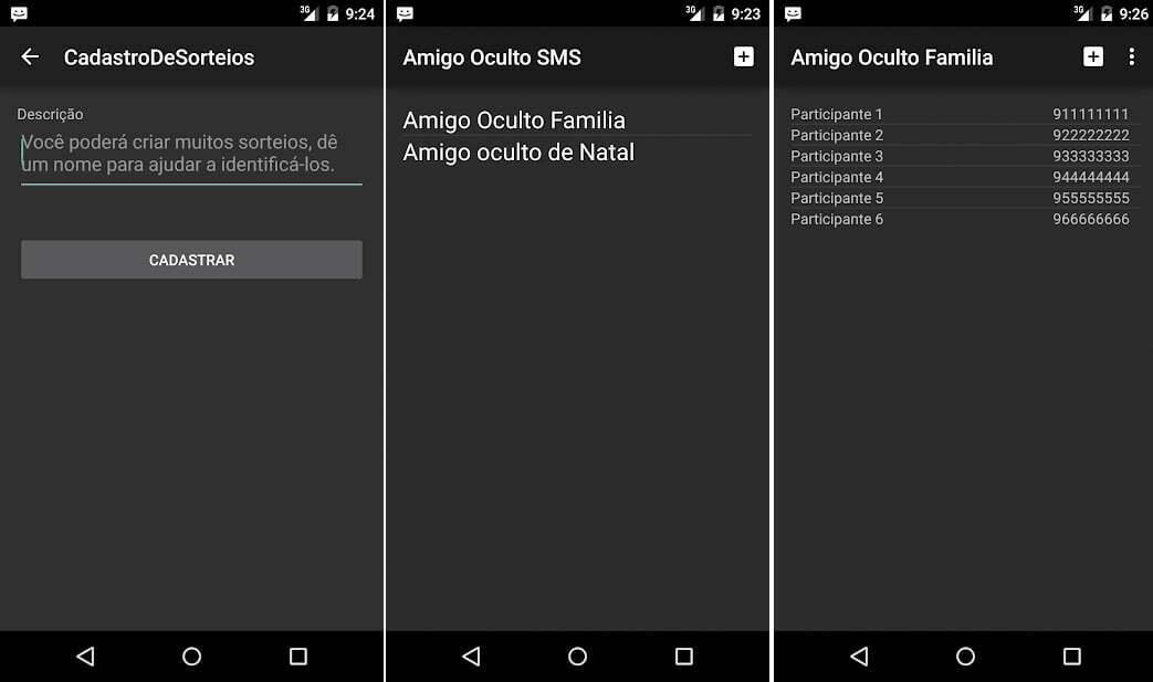 Prints de tela do aplicativo Amigo Oculto SMS