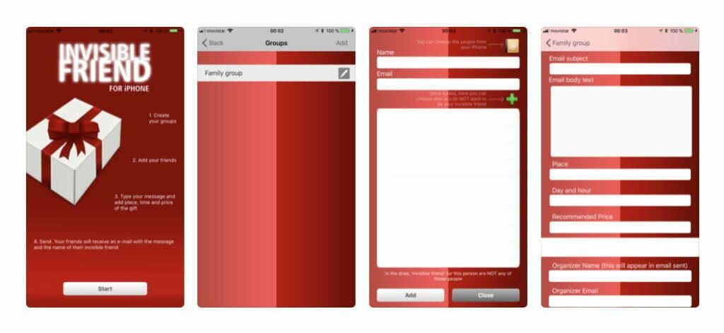 Prints de tela do Amigo Secreto App