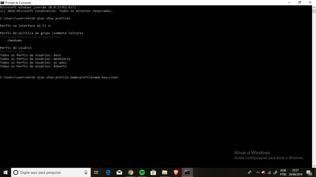 tela com prompt de comando do windows